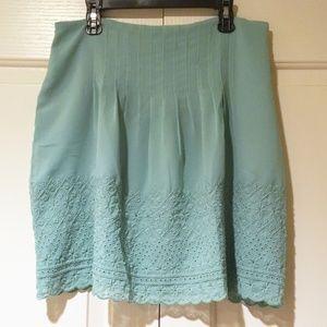 ✨NEW✨ LOFT Minty Blue Chiffon Eyelet Pleated Skirt